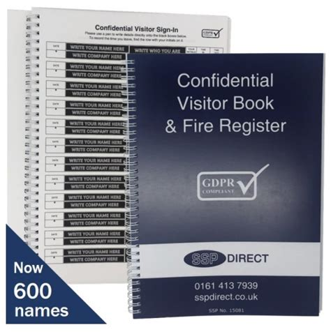 Sign-in Book (500 names) Data Protection GDPR Compliant