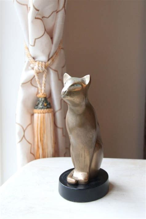 DeWitt Art Deco Cat Sculpture Bronzed Cat Figurine Cat