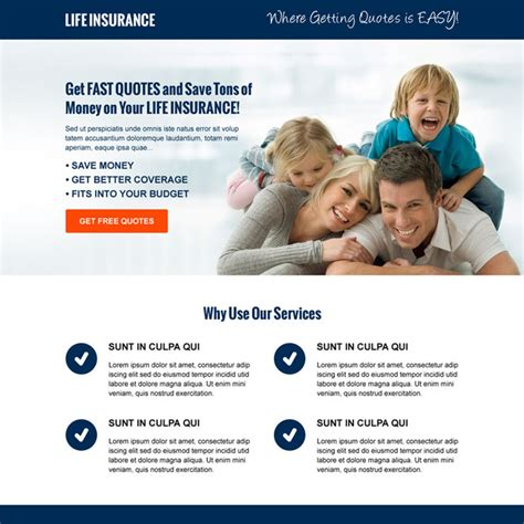 life insurance landing page design template to capture leads