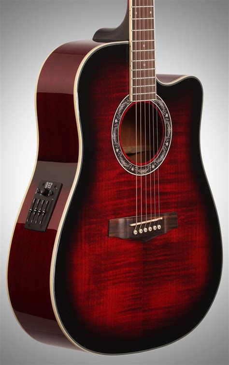 Ibanez PF28ECE Acoustic-Electric Guitar, Transparent Red