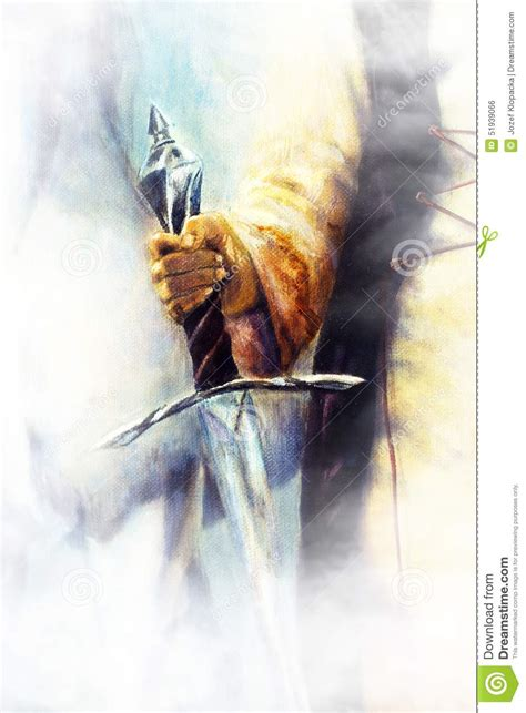 Medieval Sword In Woman Hand On Color Painting Background