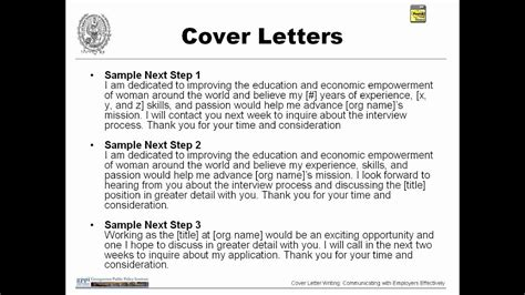 Cover Letter Writing: Communicating with Employers