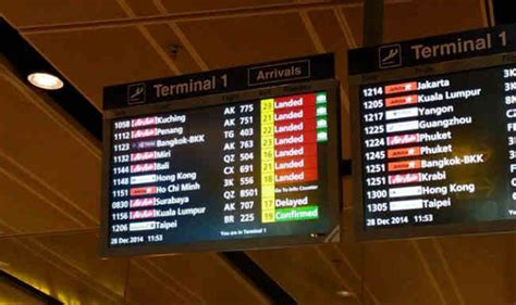 AirAsia Flight QZ 8501 Missing: Flight Status at Changi