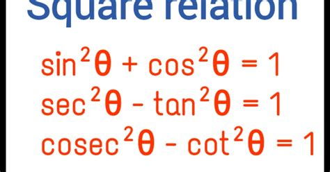 Square relations of trigonometric ratios - Maths Tricks in