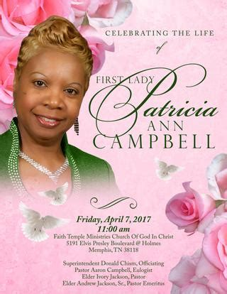 OBITUARY OF FIRST LADY PATRICIA ANN CAMPBELL by Ron Briggs
