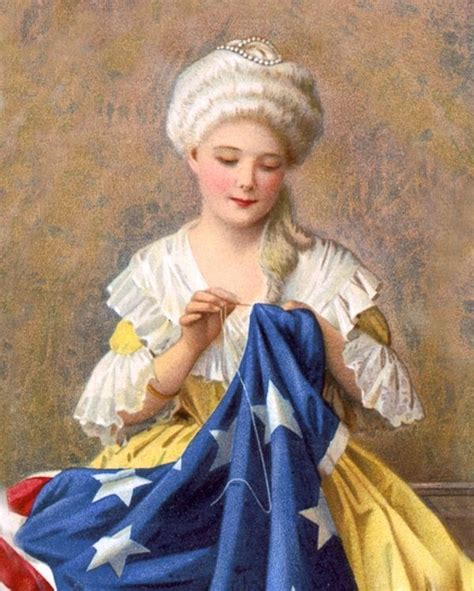 BETSY ROSS SEWING THE AMERICAN US FLAG PAINTING REAL