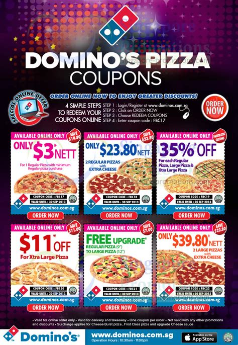 Domino's Pizza Delivery Discount Coupon Codes 6 – 30 Sep 2013