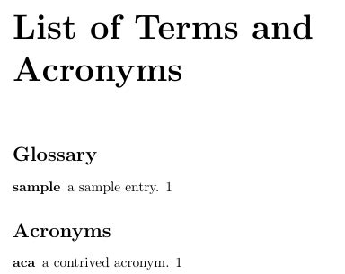 glossaries - Glossary and list of acronyms in the same