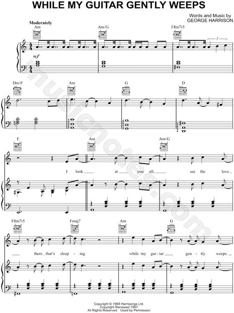 "The Beatles ""While My Guitar Gently Weeps"" Sheet Music in"
