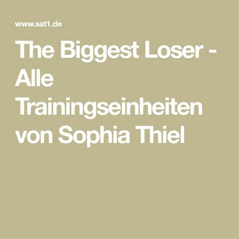 The Biggest Loser - Alle Trainingstipps von Sophia Thiel