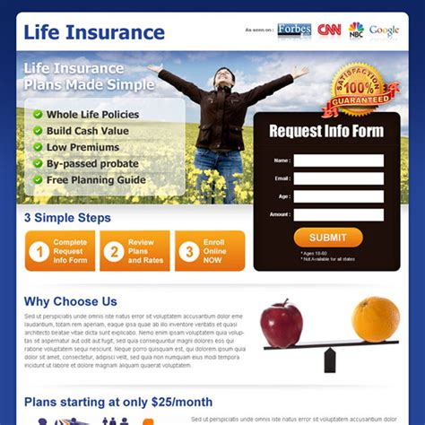life insurance landing page design template to capture