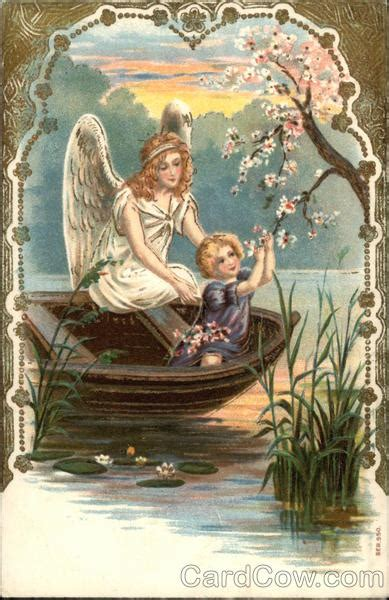 Angel Watching Over Young Child in a Boat Angels
