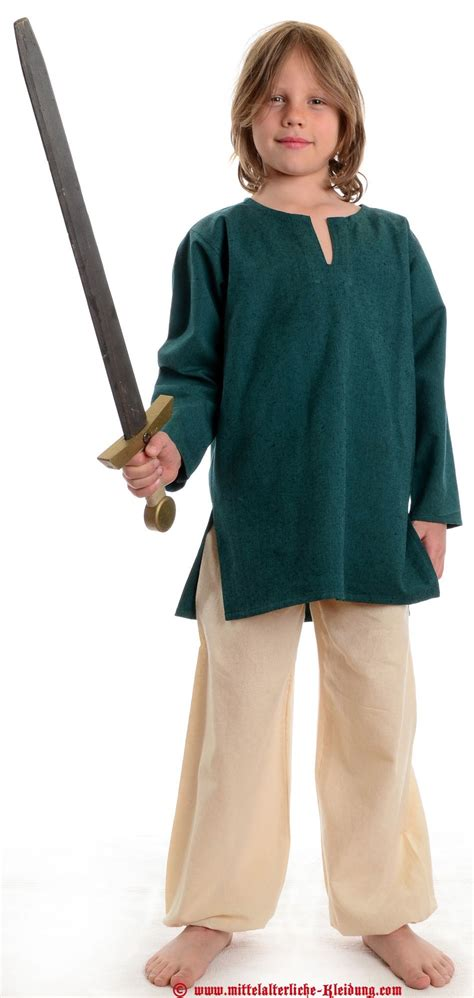 Medieval Tunic Children brown-green-offwhite